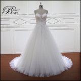 Гениальный Beaded Neckline a v - линия Bridal платье
