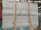 壁のタイルのための淡いブルーの木の静脈の大理石の平板