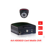Mini HDD&SD Card Mobile DVR con CCTV Surveillance H. 264 4CH Car DVR de Cycle Recording Function para Car Security DVR
