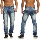 Calças retas básicas de Jean da forma da venda quente dos homens