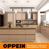 Meubilair van de Keuken van de Melamine van Oppein het Moderne Bruine Houten met Eiland (OP15-M10)