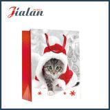 Напечатанный мешок подарка упаковки рождества бумаги цвета слоновой кости собак & котов бумажный