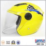 노란 스쿠터 또는 모터바이크 또는 기관자전차 열리는 마스크 헬멧 (OP203가)