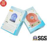 Rectángulo de papel de Colore para el mini ventilador, rectángulos de empaquetado impresos plegables del papel para el mini ventilador, rectángulo de regalo de empaquetado para el mini ventilador