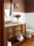 Шкаф тщеты ванной комнаты гранита вычуры 36 «верхний деревянный