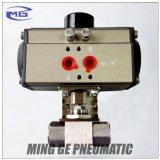Robinet à tournant sphérique pneumatique de tourillon d'acier inoxydable avec le dispositif d'entraînement NPT3/8