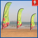Las banderas de encargo al por mayor de la pluma, exhibición de la playa de la lágrima señalan soportes de las banderas por medio de una bandera