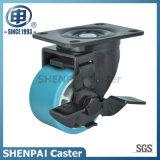 """"""" rueda de nylon azul del echador del eslabón giratorio de la base de aluminio 4"""