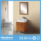 Vanité moderne classique de vente chaude de salle de bains en bois solide avec les pieds en métal (BV175W)
