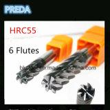 HRC55 flautas contínuas do carboneto 6 que terminam moinhos de extremidade para o titânio