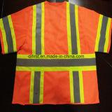 Chaleco de la seguridad con la tela que hace punto reflexiva de la venda 100%Polyester de la precaución