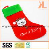 Meia do estilo do gato da vaquinha do bordado da qualidade/veludo do Applique boa para a decoração