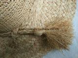 Brim grande hecho a mano Raffia fino Crocheted Raffia Tassel Raffia Hat