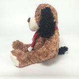 ブラウンのプラシ天の柔らかい着席のテディ犬の柔らかい子供のギフトのおもちゃ