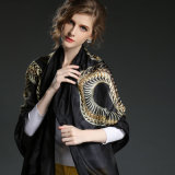 중국 Ms 황금 용 패턴 실크 스카프 까만 스카프
