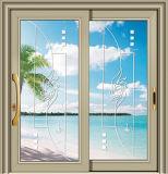 Horizontales schiebendes Glasaluminiumfenster mit Gitter-Entwurf