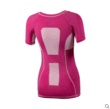 T-shirt van de Sporten van de polyester de Droge Geschikte voor de Slijtage van de Gymnastiek van de Compressie van Vrouwen