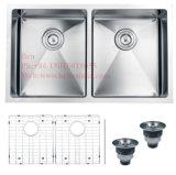 Edelstahl-Radius unter Montierungs-Gleichgestellt-Doppelt-Filterglocke-handgemachter Küche-Wanne