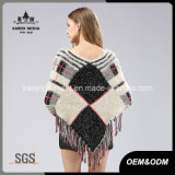 Chandail géométrique de poncho de Knit de configuration de Madame Hairy Long Sleeve Tassels