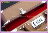 Верхний сегмент выстегал случай ювелирных изделий перемещения PU кожаный поверхностный алюминиевый (SACMC013)