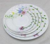 Plaque d'ovale de plaque plate de jeux de dîner en verre opale de qualité