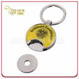 Corrente chave impressa costume do suporte da moeda do trole do metal do carro de compra