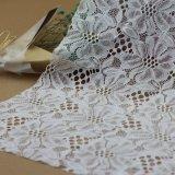 Le tissu en nylon de jacquard, broderie a attaché le lacet pour des vêtements