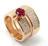 여자 둥근 보석 형식 CZ 다이아몬드 반지 백색 S3376를 위한 925 은 반지