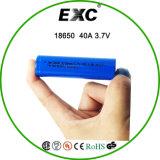 Imr18650 3100mAh 3.7V 40A Bateria recarregável de alto drenagem