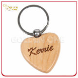 Custom Engrave Wooden Key Ring com metal escovado