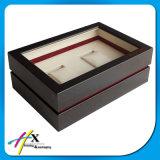 Casella di legno con la scatola di presentazione impaccante dei singoli monili della vigilanza di stile del coperchio