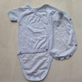 Fio unisex terno tingido do Romper do triângulo do algodão para bebês