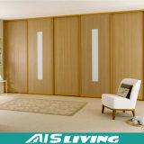 Disegno del Governo del guardaroba dell'armadio della parete di legno solido con il portello scorrevole (AIS-W147)