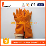 Flocked померанцовые перчатки DHL302 домочадца латекса