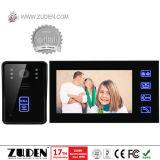 Microteléfono teléfono video de la puerta de 7 pulgadas con abrir de la tarjeta de RFID