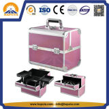 Middle Pink Aluminium Carrying Cosmetic Makeup Box for Travel (HB-3166)