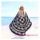 Couverture ronde de plage d'essuie-main de plage d'impression en gros de coton avec de bonne qualité