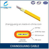 Câble fibre optique de Gjdfjv avec le filé d'Aramid en tant que câble de fibre optique plat d'intérieur de câble plat de fibre de faisceau multi de porteur central