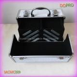 Caso de aluminio de la belleza de la tela blanca del centelleo (SACMC009)