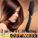 Os ferros 100% originais os mais novos do pente do Straightener do cabelo da escova com LCD