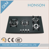 Gas Hob con Four Burner Cast Iron Tempered Glass