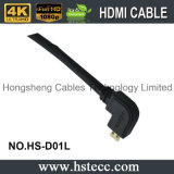tipo micro de ángulo recto negro varón de los 20m de D HDMI al cable del varón de HDMI