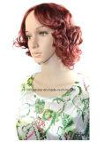 熱い販売の女性は自然な水波のかつらのブラウンの総合的な毛のかつらをショートさせる