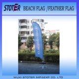 Bandierina su ordinazione lavorata a maglia della piuma della bandiera della spiaggia di stampa del poliestere