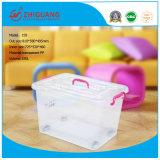 Caixa de recipiente de armazenamento de plástico colorido de alta capacidade de alta qualidade 150L Caixa de armazenamento de plástico transparente com rodas