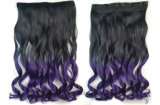Heiße Verkaufs-Farben-Steigung-lange wellenförmiges Haar-Extensionen mit Klipp
