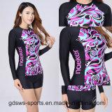 Protector impetuoso de Lycra de la camiseta del desgaste de dos piezas de los deportes para adelgazar la natación y practicar surf