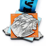 安い習慣3Dデザイン熱い冒険はリボンが付いている鋳造物によってめっきされる刻まれたロゴの古いスポーツ・イベント賞の円形浮彫りメダルを停止する