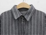 Ворота пола втулки хлопка OEM рубашка длиннего Striped длинняя для женщин
