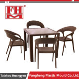 Rattan ao ar livre da injeção plástica que janta molde ajustado da tabela da cadeira